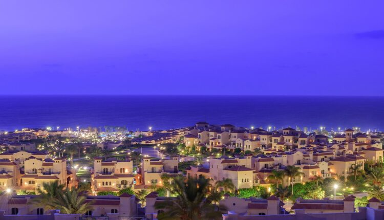 night view in la vista ray sokhna resort